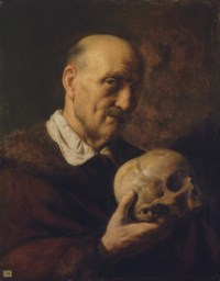 vanitas: An old man, half-length, in a fur-lined coat, holding a skull