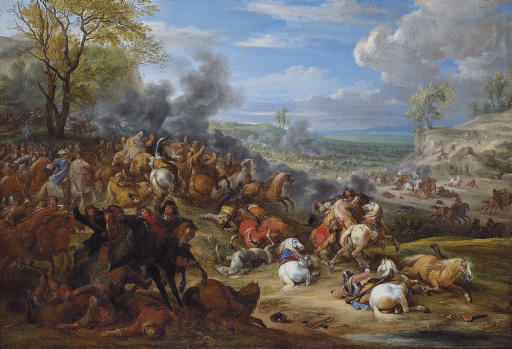 French troops in battle in an extensive landscape