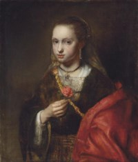 Portrait of a lady, half-length, in a black dress and red shawl, holding a flower
