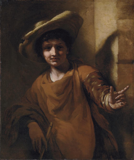 A young boy holding a flute