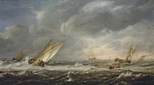 Fishing boats in choppy seas off the coast