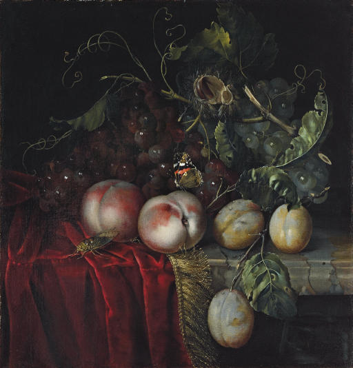 A bunch of grapes, two peaches, plums and a chestnut, with a butterfly and a cockroach, on a partly-draped marble ledge