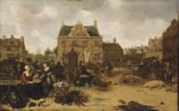 A market scene in a town square