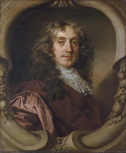 Portrait of a gentleman, half-length, in a brown coat and Mechlin lace cravat, in a sculpted cartouche