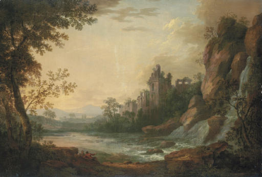 A river landscape with travellers resting on a path, a ruined castle beyond