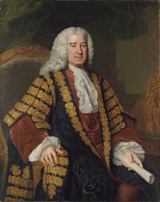 Portrait of Henry Pelham (1694-1754), three-quarter-length, seated in Chancellor's robes, a scroll in his left hand
