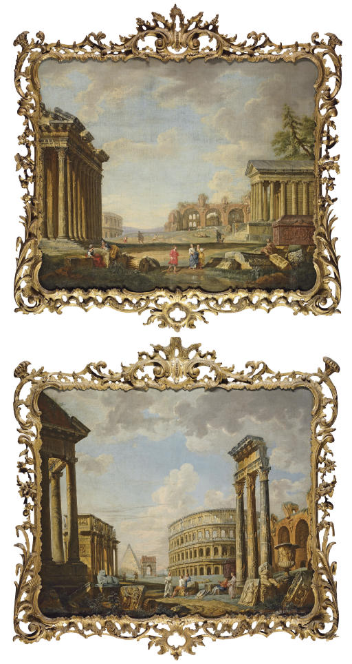 An architectural capriccio with the Arch of Constantine, the Pyramid of Cestius, the Colosseum and the three columns of the Temple of the Dioscuri, with classical figures near the sarcophagus of Costantina and the Borghese vase; and An architectural capriccio with the Temple of Hadrian, the Basilica of Massenzio, the Temple of Fortuna Virilis and the sarcophagus of Costantina with classical figures among architectural fragments
