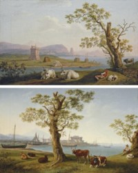 A coastal inlet, with cattle in the foreground and fishing boats and a town beyond; and The harbour of Terracina with cattle in the foreground, a fortified tower in the middle ground and Monte Sant'Angelo with Pisco Montano beyond