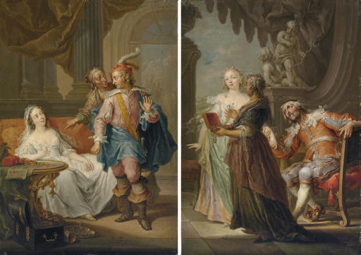 An elegant couple with an old maid in an interior; and An elegant couple with an old maid in an exterior