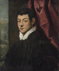 Portrait of a gentleman, bust-length, in a black coat with a white collar, by a red curtain