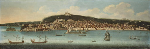 The Bay of Naples looking towards the Vomero with the Castel dell'Ovo, the Lanterna del Molo, the Castel Nuovo and the Maschio Angioino