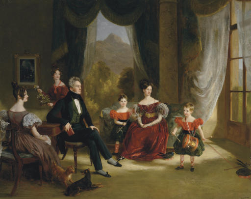 Group portrait of James Dempster Webster Gordon (1783-1850), with his wife Theodosia of Quinta do Monte, Madeira, and their sons, Webster and Russell, with their cousins Ameria and Geraldine Gordon at Balmaghie, Castle Douglas