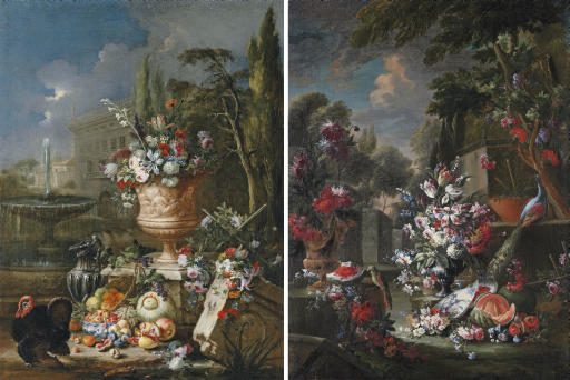 Tulips, roses, lily-of-the-valley and other flowers in an urn, with fruit in a porcelain bowl, a silver ewer and a turkey, a fountain and house beyond; and Tulips, roses, lily-of-the-valley and other flowers in an urn, with fruit by a porcelain bowl, an urn with flowers and a peacock on a ledge, in a classical garden landscape