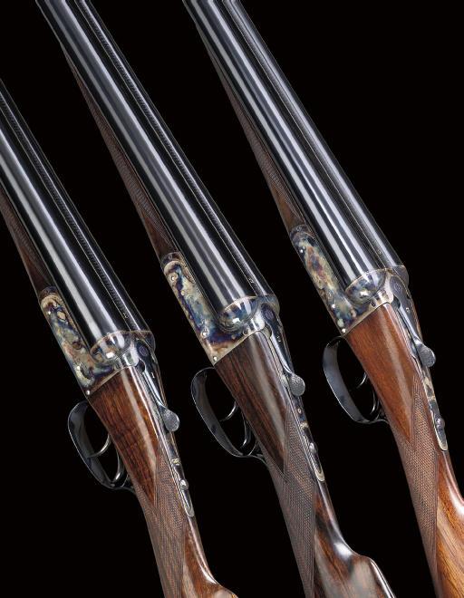 A RARE AND INTERESTING TRIO OF 12-BORE BOXLOCK EJECTOR GUNS BY E.J. CHURCHILL, NOS. 1582/3/4
