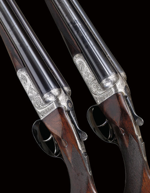 A PAIR OF 12-BORE BOXLOCK EJECTOR GUNS BY AN UNKNOWN MAKER, NOS. 3629/30