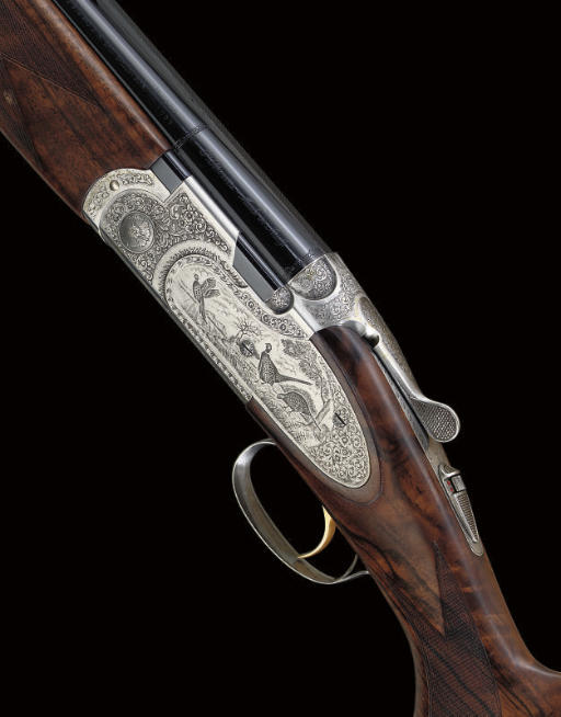 """A 12-BORE """"S687 EELL DIAMOND PIGEON"""" MODEL SINGLE-TRIGGER OVER-AND-UNDER SIDELOCK EJECTOR GUN BY BERETTA, NO. N67382B"""