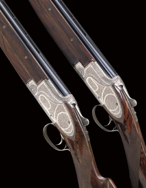 "A PAIR OF 12-BORE ""M1"" MODEL SINGLE-TRIGGER OVER-AND-UNDER SIDEPLATED BOXLOCK EJECTOR GUNS BY BROWNING, NOS. 3052/3"