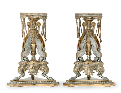 A PAIR OF VICTORIAN PARCEL-GILT SILVER DESSERT-STANDS