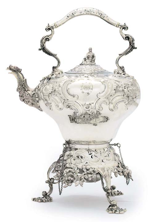 A VICTORIAN SILVER TEA-KETTLE, STAND AND LAMP