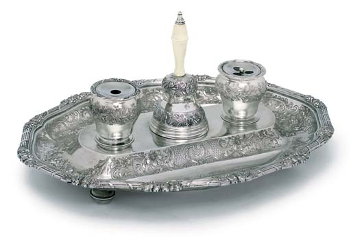 A GEORGE IV ROYAL SILVER INKSTAND