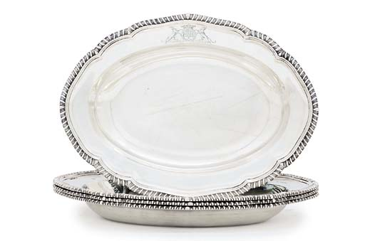 A SET OF FOUR GEORGE III SILVER PIE-DISHES
