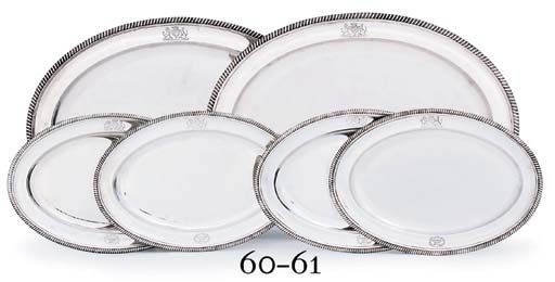 A SET OF FOUR GEORGE III SILVER MEAT-DISHES FROM THE MARTINIQUE SERVICE