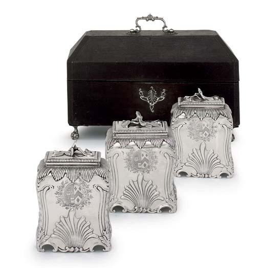 A SET OF THREE GEORGE III SILVER TEA-CADDIES