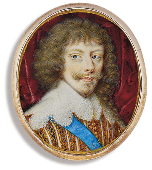 Henry II, Duke of Montmorency (1595-1632), in gold-figured doublet slashed to reveal white, lace collar, wearing the blue sash of the Royal French Order of the Holy Ghost, long curling hair and moustache; crimson drapery background