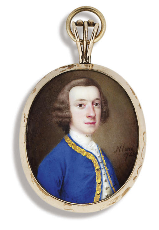 A young gentleman, in gold-bordered blue coat, white waistcoat and shirt, powdered wig en queue
