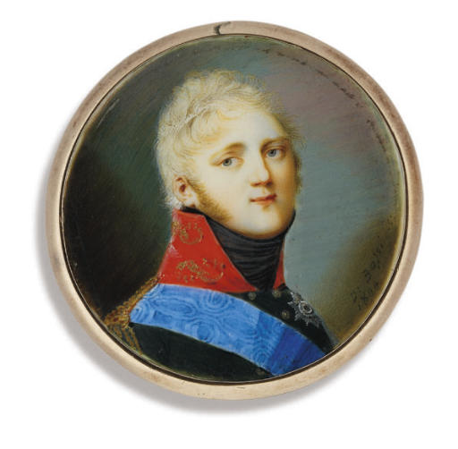 Tsar Alexander I of Russia (1777-1825), in black uniform with red collar, gold epaulettes, wearing the blue moiré sash and breast-star of the the Imperial Russian Order of St. Andrew