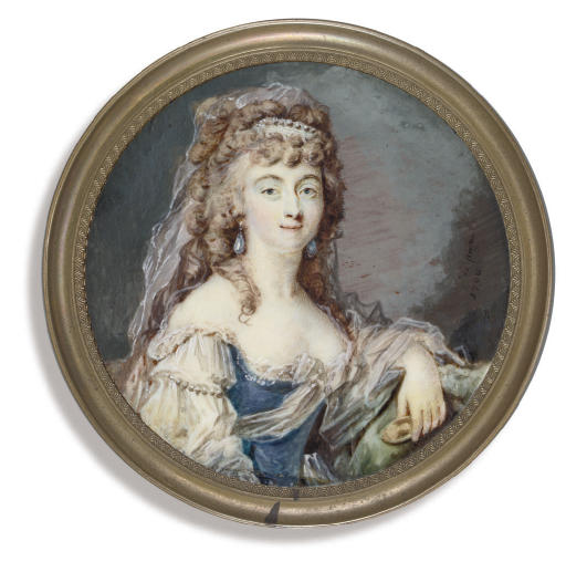 A young lady, holding a portrait miniature of a gentleman in her left hand, in lace-bordered dress with blue bodice and off-the-shoulder white sleeves entwined with pearls, large drop-pearl earrings, lace bandeau and flowing gauze veil in her long curling auburn hair, her left arm leaning on a green covered ledge