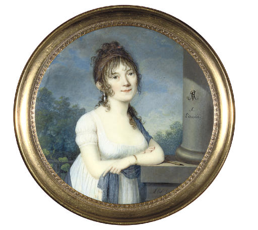 A young lady, in low-cut white dress, a blue stole over her left shoulder and in her left hand, upswept dark hair falling in tendrils around her face, leaning on a pedestal beside a column; nocturnal landscape background