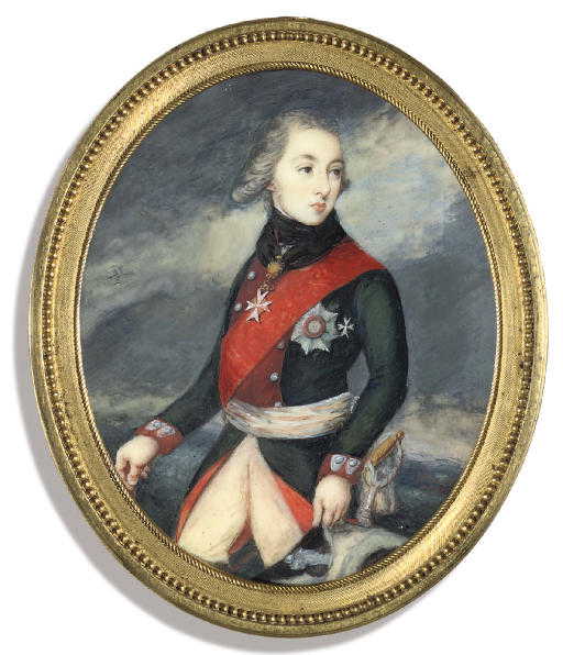 Count Aleksandr Matveevich Dmitriev-Mamonov (1758-1803), in military uniform of green coat with red facings, white cummerbund, wearing the red sash and breast-star of the Imperial Russian Order of St. Alexander Nevskii, and the Order of St. John of Jerusalem, powdered hair, holding his hat in his left hand; stormy sky background