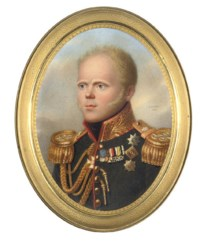 Grand Duke Constantin Pavlovich (1778-1831), in general's uniform, red-piped black coat, gold-embroidered red collar, gold aiguillette and epaulettes, wearing the breast-star of the Imperial Russian Order of St. Andrew, the jewel and breast-star of St. George (2nd class), the Order of St. Vladimir, the Austrian Order of Maria Theresa, the Prussian Iron Cross, the Württemberg Military Merit (Knight class), the Bavarian Military Order of Max-Joseph, and medals including the 1812 Campaign; sky background