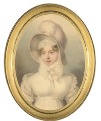 Grand Duchess Maria Pavlovna, Grand Duchess of Saxe-Weimar-Eisenach (1786-1859), in white dress with frilled sleeves, a frill at her waist, large frilled collar and bonnet, a white hat with feathers on her fair hair