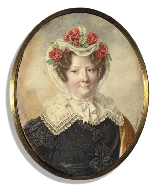 Countess Sofia Vladimirovna Panina, née Orlova (1774-1844), in black dress tied at her waist with black ribbon, ruched sleeves, a bow at her corsage, large lace collar, a white bonnet adorned with red carnations tied under her chin