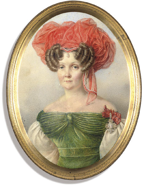 Ekaterina Aleksandrovna Kologrivova, née Chelishcheva (1778-1857), in green dress with bodice and large white sleeves, an elaborate orange headdress in her dressed fair hair, wearing the Imperial Russian Order of St. Catherine