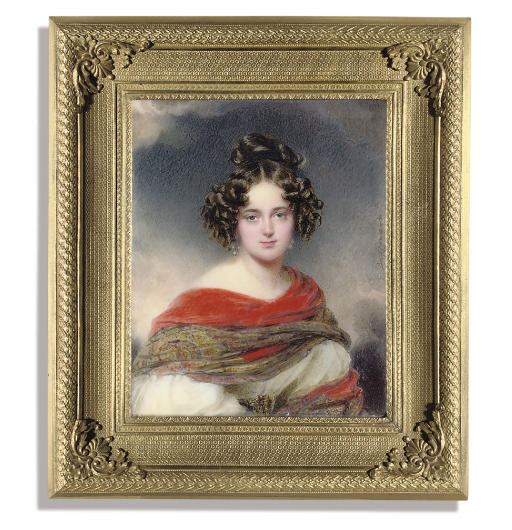 A magnificent miniature of a young lady called Princess Melanie Metternich (1805-1854), in white dress with voluminous sleeves, wearing a belt with gem-set gold buckle, red embroidered Cashmere shawl draped across her shoulders, pearl earrings, her dark upswept hair dress in ringlets; cloudy sky background