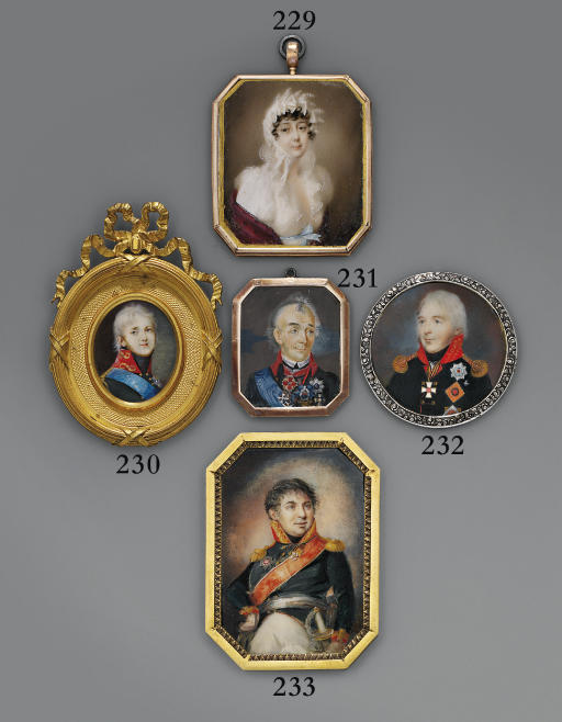 Prince Sergei Feodorovich Golitsyn (1749-1810), in black uniform with gold-embroidered red collar, gold epaulettes, wearing the Imperial Russian Orders of St. Andrew, St. George (2nd class) and St. Vladimir (1st class) and the Order of St. John Jerusalem (Commander class)