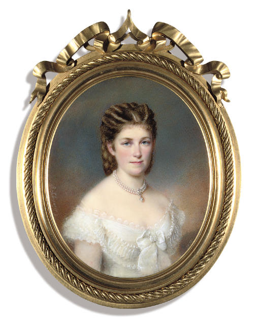A lady, in lace-trimmed white dress, white ribbon tied at corsage, two-strand pearl necklace centred with a gold-mounted gem-set pendant, upswept hair