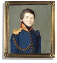 A boy, in red-piped blue uniform, gold embroidered red collar, gold epaulette and anguillette