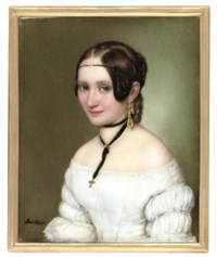A young lady, in off-the-shoulder white dress with ruched sleeves, wearing a gold cross suspended from a black ribbon around her neck, gold drop earring, wearing a black and gold ferronnière in her dressed hair