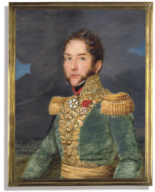 A French general, in green uniform with gold embroidery and epaulettes, wearing a gold cummerbund, black stock and the jewel of the French Order of the Legion of Honour (Commander class) and the badge of the Royal French Order of St. Louis; together with an officer, in blue uniform, silver embroidered blue collar, silver boards, wearing the Imperial Russian Order of St. Anne (2nd class) and the order of St. John of Jerusalem (Commander class); (Russian School, circa 1800)