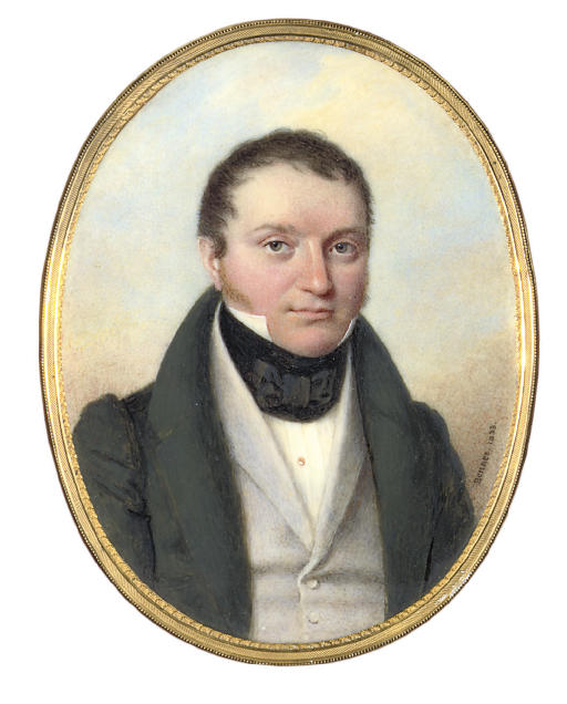 Count Julius [Iulii Ivanovich] Stenbock (1812-1878), in green coat and pale grey waistcoat, black cravat tied in a bow; sky background