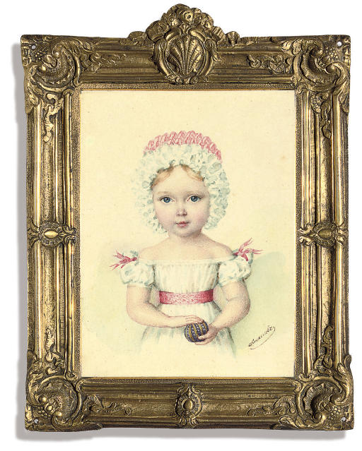 A child believed to be Grand Duchess Maria Nikolaevna (1819-76), in white dress with sash and pink ribbons at shoulders, frilled pink and white bonnet, holding a striped purple ball