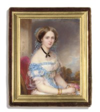 A young lady, in white dress with blue ribbons at corsage, waist and tied in bows on her right sleeve, her shoulders draped with white gauze veil, wearing a black ribbon around her neck tied at centre and set with a gold brooch, sapphire earring, gold gem-set bracelets, her fair upswept hair adorned with blue ribbons and foliage, seated in a red chair, holding pink flowers; pillar and landscape background