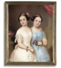 Two sisters: Adele Fellner, in white dress with pleated and ruched bodice and white bow at her shoulder, wearing two bracelets, a pink rose her her plaited and upswept hair, her left hand resting on her sister's shoulder; Anna Gelner, in pleated and ruched blue dress, holding a small bunch of pink roses in her left hand, her arm around her sister's waist, pink roses on table beside her; pink drapery and interior background