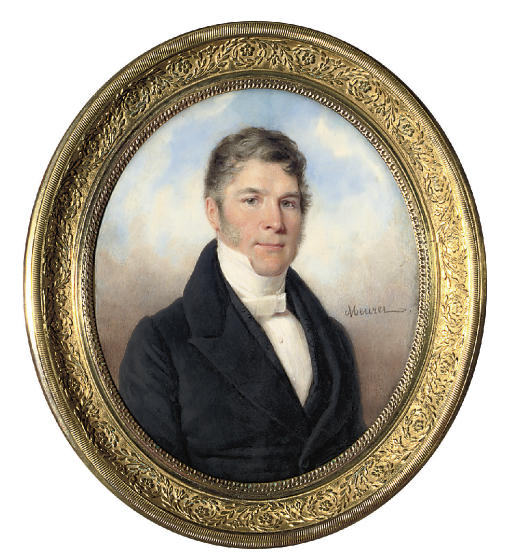A gentleman, in black coat and sprigged black waistcoat, pleated white shirt and tied cravat; sky background