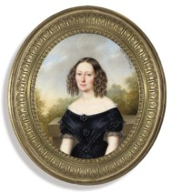 A young lady, in black dress with white lace trim at collar, black lace trim at sleeves, black rosette at corsage, waist and another in between, her fair hair dressed in ringlets; plinth, tree and sky background