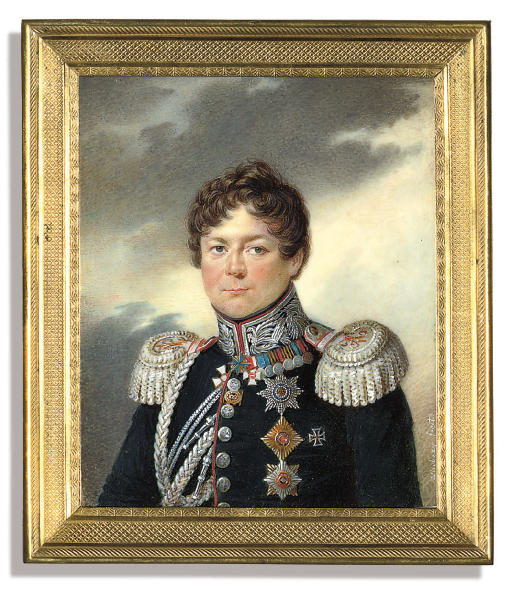 General Count Ivan Ivanovich Dibich-Zabalkanskii (1785-1830), in red-piped black uniform with silver-embroidered collar, silver epaulettes and aiguillettes, wearing orders and decorations including the Imperial Russian Orders of St. Andrew, St. George (2nd class), St. Vladimir (1st class), the Prussian 'Pour le Mérite', the Austrian Order of Maria Theresa (Knight class), medals including the Prussian Kulm Cross of 1813, the medals of the war of 1812, the Taking of Paris, the Persian War 1826-1828, the Turkish War 1828-1829, the Taking of Warsaw and the badge for 20 years of Distinguished Military Service as an officer; sky background